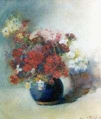 Willigen C.A. van der - Bloemstilleven in blauwe pot, aquarel op papier 42 x 37,5 cm, gesigneerd r.o. en gedateerd 1902