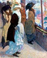 Gestel L. - De hoedenwinkel, olie op doek 45 x 37,2 cm , gesigneerd l.o. en te dateren ca. 1908