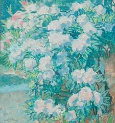 Patoux E.J. - Rododendrons, olieverf op doek 75,8 x 70,5 cm, gesigneerd l.o. voluit en mon.