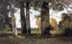 Bock T.E.A. de - Beukenbos bij Renkum, olie op doek 50 x 75,7 cm , gesigneerd r.o.