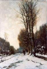 Mondriaan F.H. - A figure on a snow-covered path, oil on panel 37.7 x 26.3 cm , signed l.r.