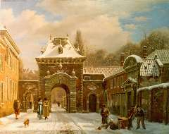 Hove B.J. van - A view of the Grenadierspoort 'Binnenhof', The Hague,, oil on canvas 39.4 x 49.5 cm , signed l.l.