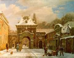 Hove B.J. van - Grenadierspoort Binnenhof Den Haag, olie op paneel 39,4 x 49,5 cm , gesigneerd l.o.