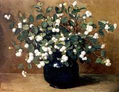 Akkeringa J.E.H. - Snowberries, oil on canvas 33.5 x 41.2 cm , signed l.l. and and on the reverse