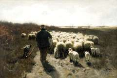 Mauve A. - A shepherd with his flock, oil on canvas 65 x 96.5 cm , signed l.r.