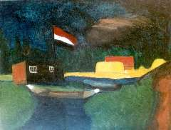 Wijngaerdt P.T. van - A landscape with a flag, oil on canvas 59.2 x 75.3 cm , painted circa. 1917 and te dateren ca. 1917