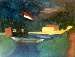 Wijngaerdt P.T. van - Landschap met vlag, olieverf op doek 59,2 x 75,3 cm, gesigneerd r.o. en te dateren ca. 1917