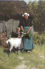 Martens W. - Feeding the goat, oil on canvas 65.3 x 46.1 cm , signed l.r.