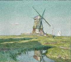 Sys M. - Einde van een zomerdag (Volendammermeerpolder Volendam), olie op doek 60,5 x 70,8 cm , gesigneerd r.o. en gedateerd 1918