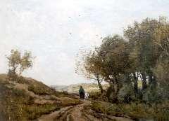 Bock T.E.A. - Geitenhoeder op duinpad, olie op doek 42,8 x 58 cm , gesigneerd r.o.
