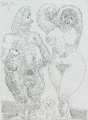 Picasso P. (RUIZ Y) - La Célestine, ets op papier 12 x 8,8 cm, gedateerd 22.6.68 (in spiegelbeeld)