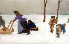 Roessingh L.A. - sneeuwlandschap met spelende kinderen, olie op paneel 21,4 x 32,4 cm, gesigneerd r. v/h m. en gedateerd 1908