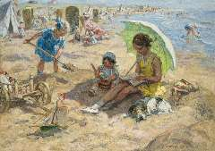 Zoetelief Tromp J. - Children playing on the beach of Katwijk, oil on canvas 68.3 x 95.9 cm , signed l.r. and reverse