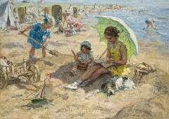 Zoetelief Tromp J. - Spelende kinderen op het strand van Katwijk, olie op doek 68,3 x 95,9 cm , gesigneerd r.o. en verso