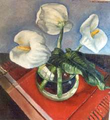 Brandenburg M. - Flamingo flowers, oil on panel 73.3 x 67.3 cm , signed u.r. and dated '35