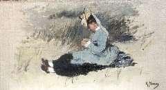 Mauve A. - Portret van Ariëtte Mauve-Carbentus zittend in de duinen, olie op doek op paneel 19,5 x 33,8 cm, gesigneerd r.o.