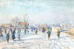 Wolter H.J. - Skaters on the Boerenwetering, Amsterdam, oil on canvas 40.5 x 60.6 cm , signed l.r. and carries studiostamp and painted in 1915