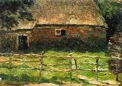Mondriaan P.C. - Boerderijtje achter een hek, olie op paneel 20,5 x 29,1 cm , gesigneerd l.o. en te dateren ca. 1904