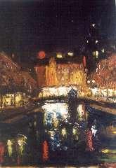 Mackenzie M.H. - Lichteffect: Singel bij de Munt in Amsterdam, olie op board 39,8 x 29,8 cm , gesigneerd r.o.