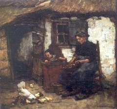 Akkeringa J.E.H. - Zomermiddag op het erf, Heeze, olie op doek op paneel 34,9 x 36,3 cm , gesigneerd r.o. en gedateerd 1904