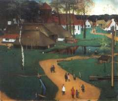 Mulders J.B. - View of a village with children on a path, oil on paper laid down on board 61.2 x 71 cm , signed l.r. and dated 1926
