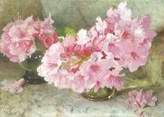 Oldewelt F.G.W. - Rhododendron, olie op doek 33 x 46,2 cm , gesigneerd l.o.