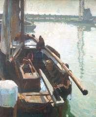 Sluiter J.W. - Haven, Volendam, olie op doek 80,3 x 65,4 cm , gesigneerd l.o.