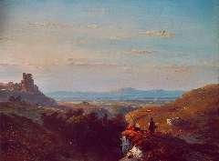 Schelfhout A. - Landvolk aan de rand van een rotskloof in weids landschap, olie op paneel 21,5 x 28,8 cm , gesigneerd l.o. en gedateerd '49