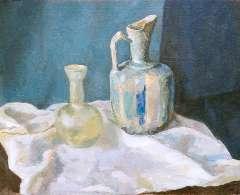 Sluijters jr. J. - Stilleven met kan en vaas, olie op doek 50,3 x 60,2 cm , gesigneerd  l.b. en gedateerd 1939
