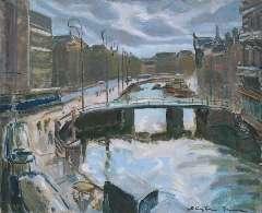 Sluijters jr. J. - Het Rokin in Amsterdam, olieverf op doek 65,2 x 80,3 cm, gesigneerd r.o.