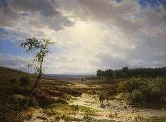Lieste C. - Heidelandschap bij Oosterbeek, olieverf op paneel 70,9 x 95,2 cm, gesigneerd l.o. en te dateren ca. 1855