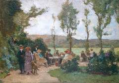 Akkeringa J.E.H. - The tea garden, oil on panel 17.4 x 24.6 cm , signed l.r.