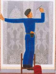 Hell J.G.D. van - Glazenwasser aan het werk, olie op doek 100 x 75,2 cm, gesigneerd r.o. en gedateerd 1927