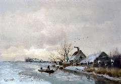 Apol L.F.H. - Poldervaart in de winter, olie op paneel 29,1 x 41,5 cm , gesigneerd l.o.