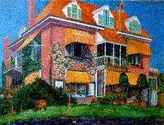 Nieweg J. - Villa Kinheim, Bloemendaal, olie op doek 60,6 x 80,6 cm , gesigneerd r.o. en gedateerd aug. 1915