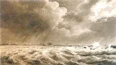 Koekkoek J.H. - Dijkdoorbraak tijdens de Zeeuwse overstroming op 14 en 15 januari 1808, pen en gewassen inkt op papier 22,5 x 38,3 cm