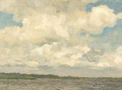 Tholen W.B. - Clouds in the sky, oil on canvas laid down on painters' board 30.3 x 39.9 cm , signed l.l.