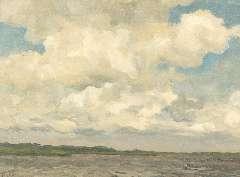 Tholen W.B. - Wolkenlucht, olie op doek op schildersboard 30,3 x 39,9 cm , gesigneerd l.o.