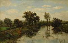 Gabriel P.J.C. - Hollands polderlandschap, olieverf op doek 63,6 x 97,7 cm, gesigneerd r.o.