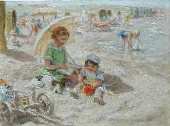 Zoetelief Tromp J. - A day at the beach, oil on canvas 30 x 40 cm , signed l.r. and on the reverse