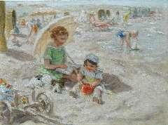 Zoetelief Tromp J. - Een dag op het strand, olieverf op doek 30 x 40 cm, gesigneerd r.o. en verso