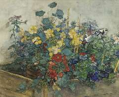 Akkeringa J.E.H. - Summer flowers, watercolour and gouache on paper 54.1 x 67 cm , signed l.l.