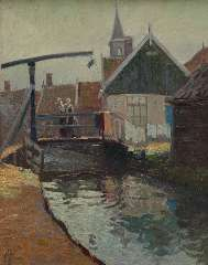 Schotel A.P. - A view of the Yellow Bridge, Volendam, oil on panel 41 x 32.7 cm , signed l.l.