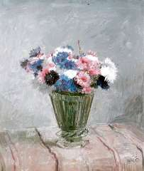 Kamerlingh Onnes H.H. - Flowers in a glass vase, oil on painters' board 25.7 x 30.1 cm , signed l.r. with monogram and dated '58