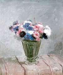 Kamerlingh Onnes H.H. - Bloemen in glazen vaas, olie op schildersboard 25,7 x 30,1 cm , gesigneerd r.o. met monogram en gedateerd '58
