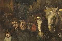 Noltee B.C. - Figuren en koetspaarden bij avond, olie op doek 60,7 x 90,7 cm , gesigneerd r.o.