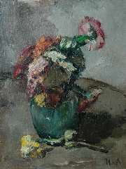 Moret C.S.A. - A flower still life, oil on canvas 40 x 30.4 cm , signed l.r.