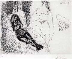 Picasso P. (RUIZ Y) - Deux Femmes, avec Voyeurs, ets 25,5 x 31,8 cm , gesigneerd r.o. (in potlood) en gedateerd 13.6.68IV (in spiegelbeeld)