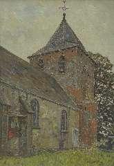 Zandleven J.A. - Kerkje te Kootwijk, olieverf op doek 61,2 x 43,8 cm, gesigneerd r.o. en gedateerd 1920