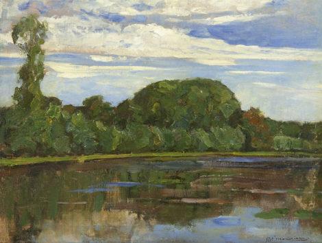 Mondriaan P.C. - Boerderij Geinrust achter bomenrij aan het Gein, olieverf op doek 47,7 x 63,8 cm, gesigneerd r.o. en te dateren ca. 1905-1906